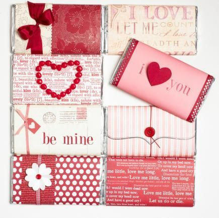 Valentine's Day Decorations and Gifts Make your own candy bar covers with scrapbooking papers, ribbons and other accents. Click for more easy Valentine's ideas!Make your own candy bar covers with scrapbooking papers, ribbons and other accents. Click for more easy Valentine's ideas!