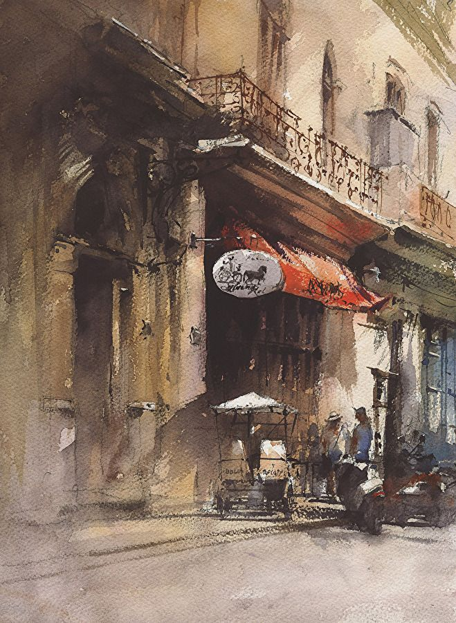 Small Hotel By Vladislav Yeliseyev Watercolor 14 X 10