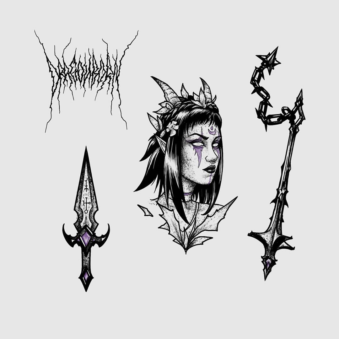 DRAGONBORN new flash #darkart #darkartists #forest #tattoodesign #tattooart #illustration #dotwork
