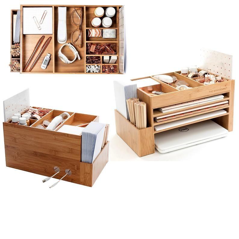Modern Wood Home Office Supplies Desk Organiser Desktop Shelf Storage Tidy Dock Station In 2020 Desk Organization Scrapbook Storage Desk Tidy