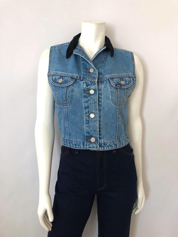 Vintage Women S 90 S Lee Sleeveless Jean Jacket Etsy Sleeveless Jean Jackets Vintage Ladies Light Blue Denim [ 3000 x 2250 Pixel ]