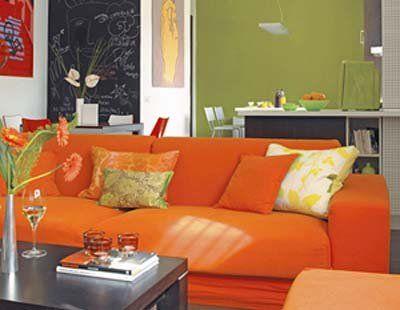 Un sofá naranja (con imágenes) | Sofá naranja, Decoracion ...
