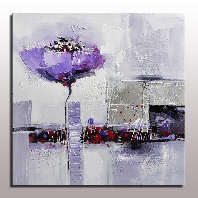 Pintura abstracta hermosa de la flor p rpura de lino lona for Proveedores decoracion hogar