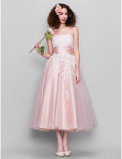 vestido do baile - Pearl Pink uma linha strapless do tornozelo-comprimento de tule / cetim stretch