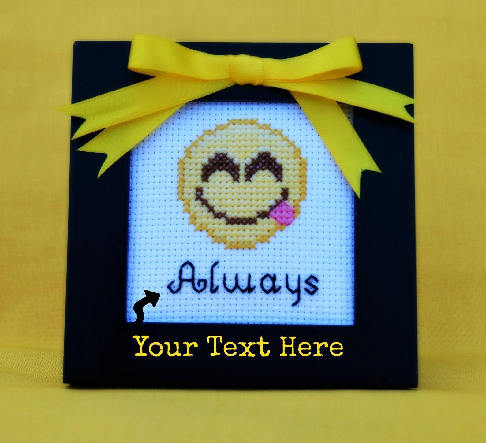 Yummy Emoji With Your Text Cross Stitch Savory Emoji