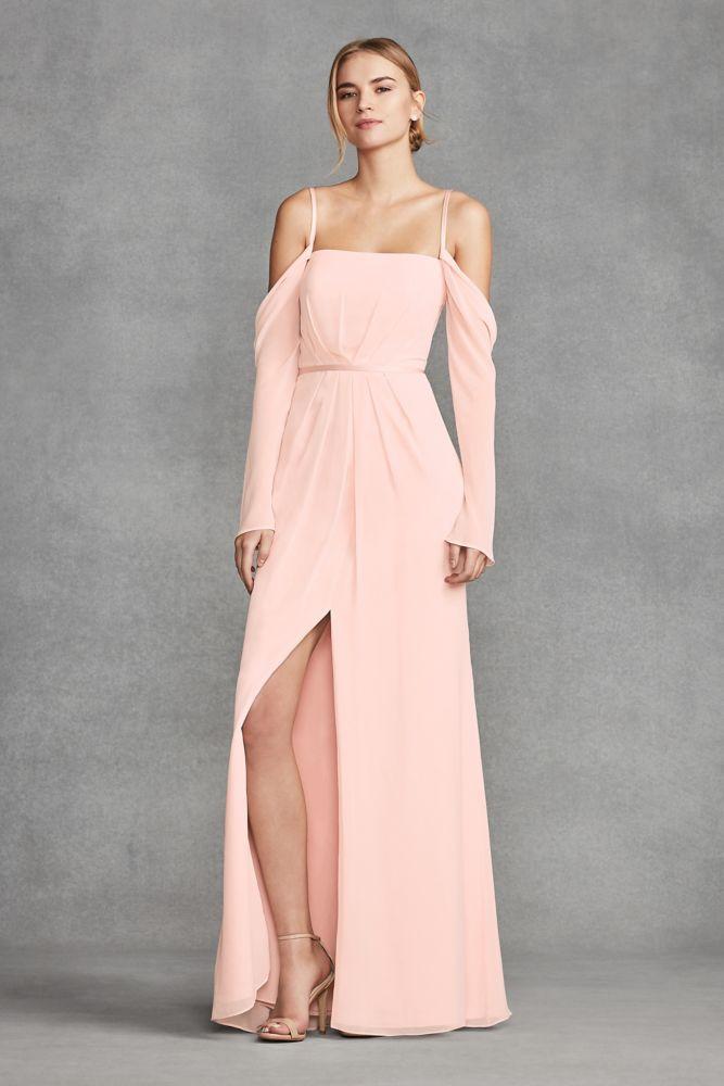 Long Sleeve Cold Shoulder Chiffon Bridesmaid Dress - Blush (Pink) a3d58979df7f