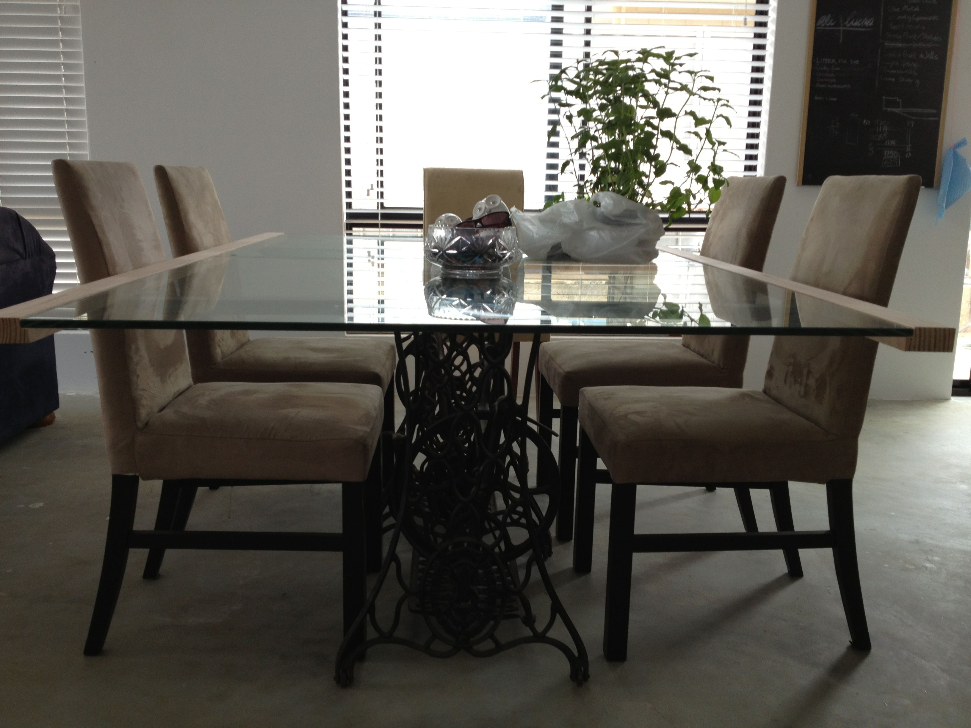 Dining Table Made From Recycled Gl