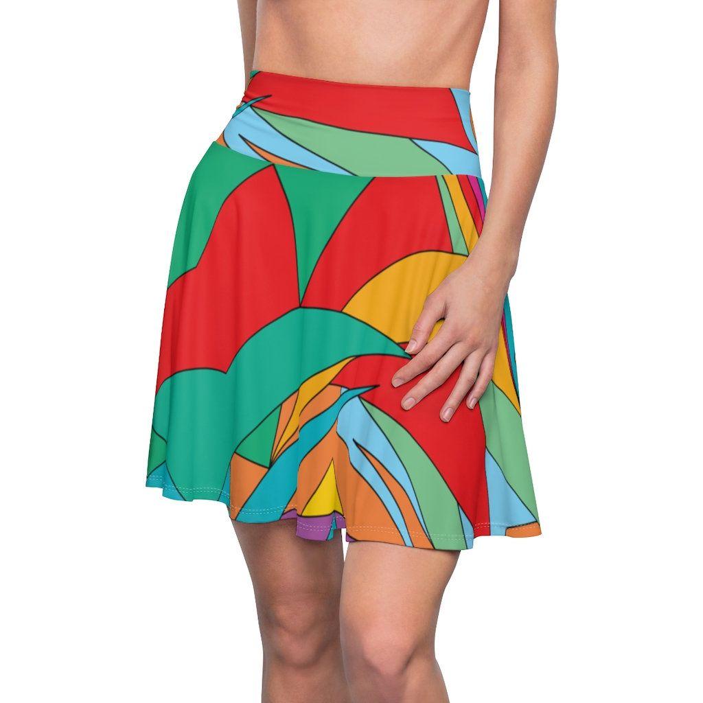 Geometric Abstract Rainbow Women/'s Skater Skirt