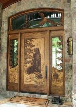 carved wood door | Carved doors, Log homes, Wood doors ...