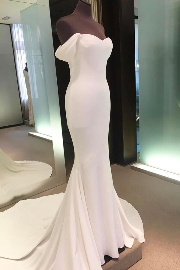 Tren de la corte de la envoltura de marfil simple fuera del hombro Vestidos de novia de boda de Long Beach simples P216  – Boda