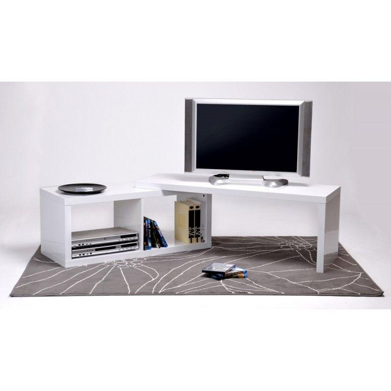 redoutable meuble tv angle blanc tv