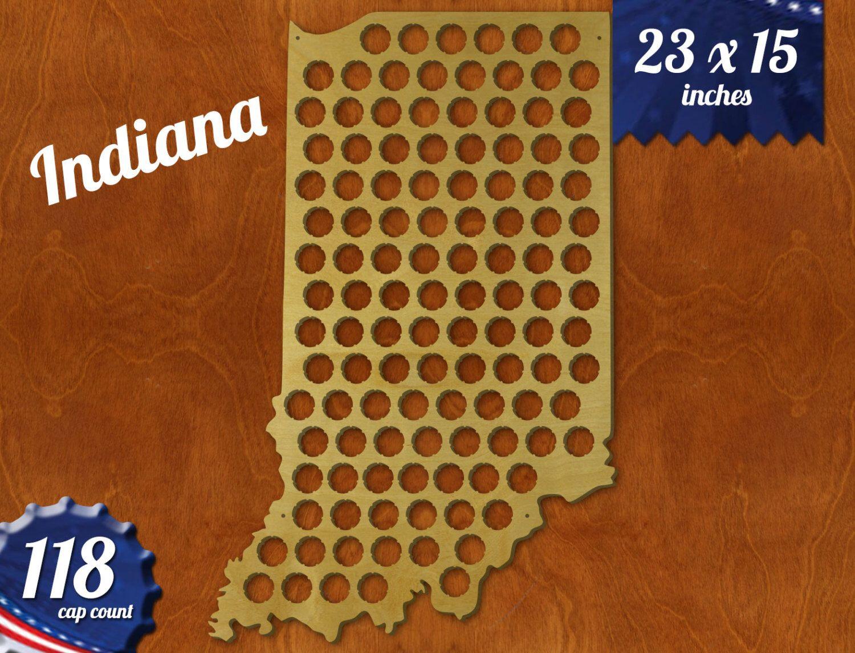 Indiana Beer Cap Map Beer Cap Holder Beer Cap State Map Cap Map - Indiana beer cap map