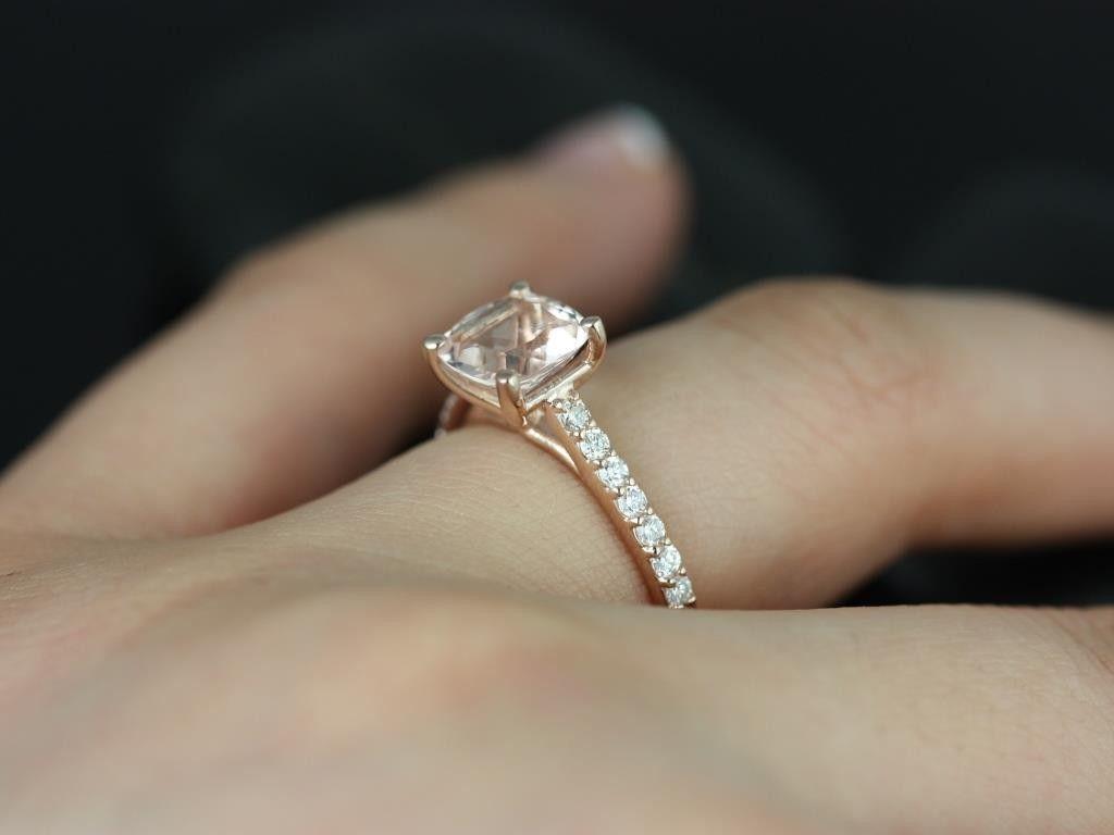 Rosados Box Tiffany Rose Gold Cushion Morganite And Diamonds Cathedral Engagement  Ring
