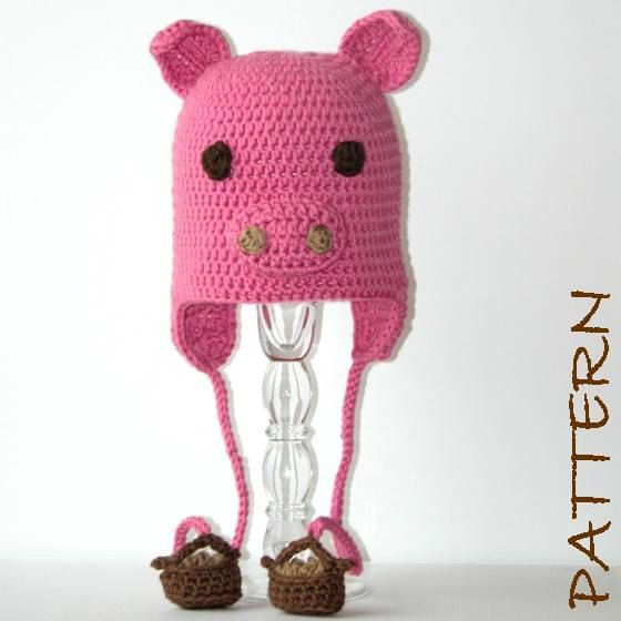 Crochet Animal Hat pdf Pattern Pepin the Pig by hookedandchained ...