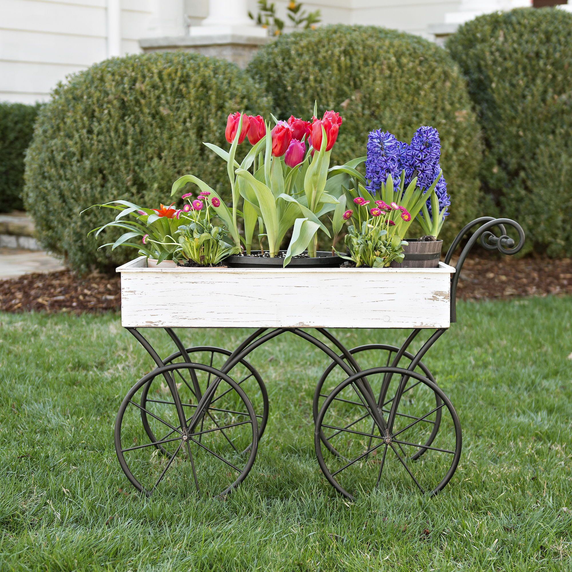 Cream Decorative Wagon | Outdoor spaces, Planters and Flowers