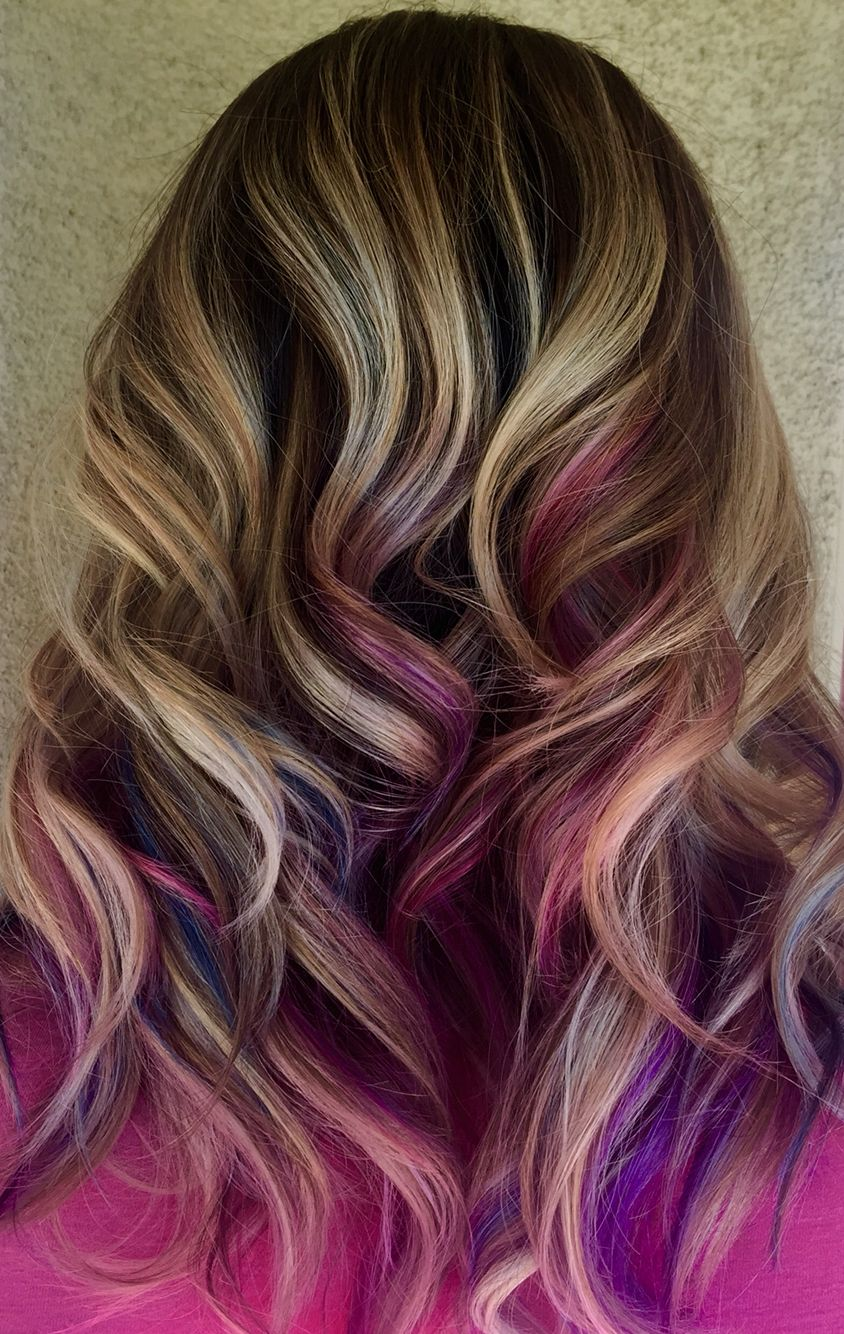 Blue Pink And Purple Peekaboo Highlights On Blonde Hair By Genna Khein Www Gennakhein Co Peekaboo Hair Blonde Hair With Highlights Purple Peekaboo Highlights