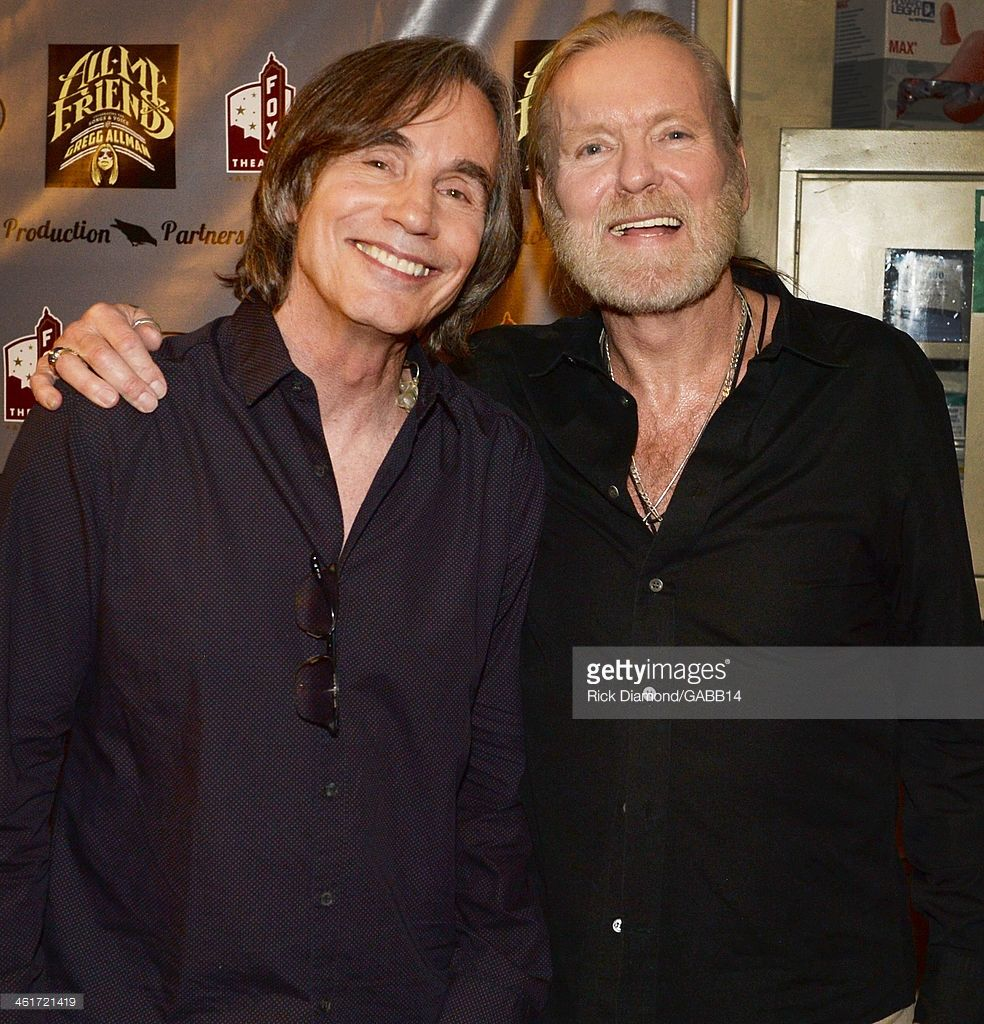 Jackson Browne And Gregg Allman Attend All My Friends Celebrating The Songs Voice Of Gregg Allman At The Fox Theatre On Jan Jackson Browne Songs Celebrities