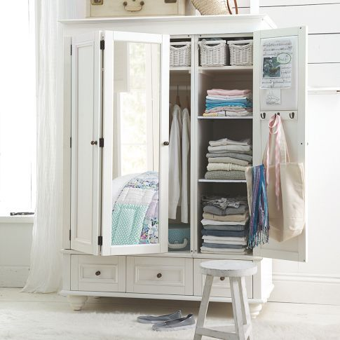 giant wardrobe with shelves, small draws and a mirror door - perfect for apartments with no closet #PBTEEN