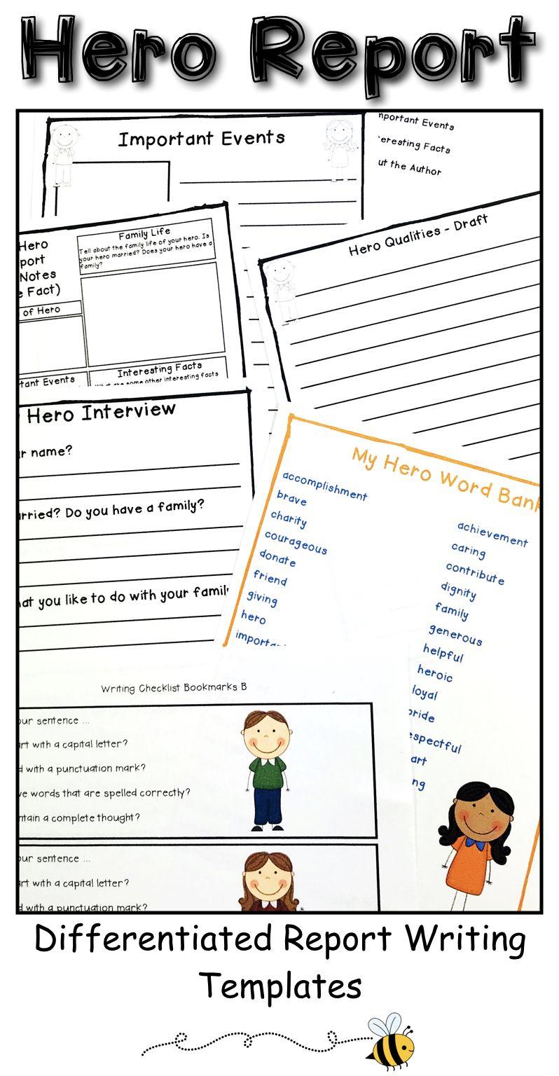 Hero Writing Activity My Hero Writing Project Report Writing