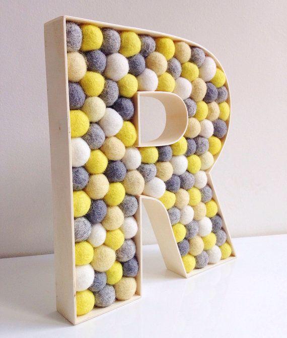 Felt ball filled Wooden Letter R by hoppsydaisy - Nursery Decor ...