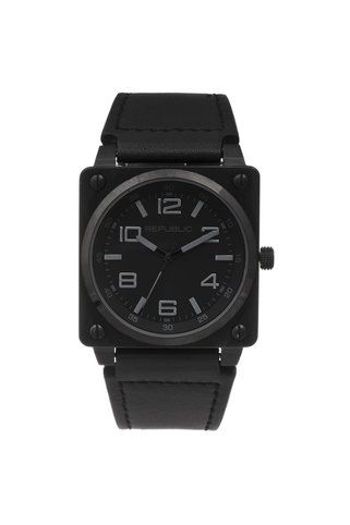 Republic Watches Stainless Steel All Black Leather Strap Aviation Watch Reloj Mineros