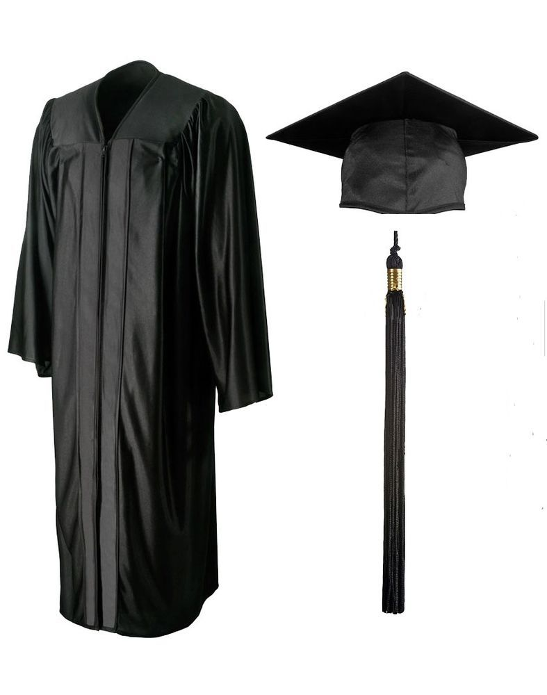 Standard Graduation Gown sets-Shiny BLACK (Cap, Tassel included ...