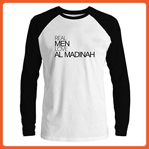 Idakoos - Real men love Al Madinah - Cities - Raglan Long Sleeve T-Shirt - Cities countries flags shirts (*Partner-Link)