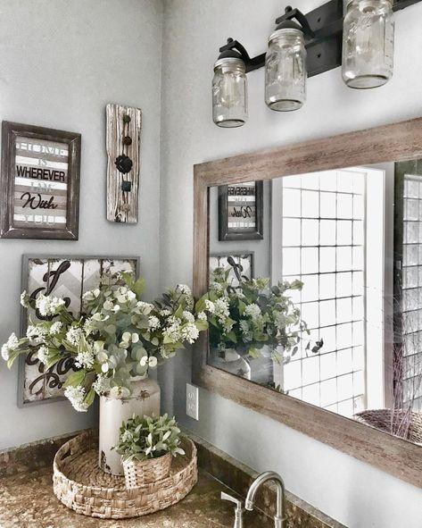 Master Bathroom Makeover Reveal- Farmhouse Style bathroom decor