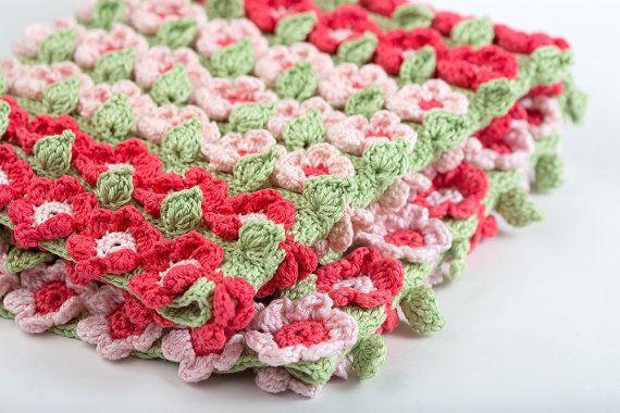 Crochet Pattern Spring Flowers Baby Blanket Pdf Instant