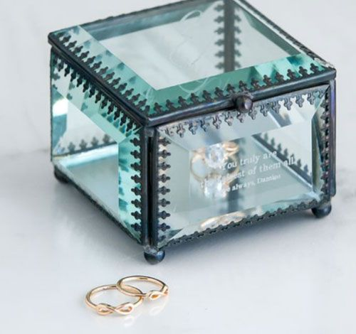 Vintage Inspired Glass Jewelry Box - Modern Fairy Tale Monogram Etching $39.98