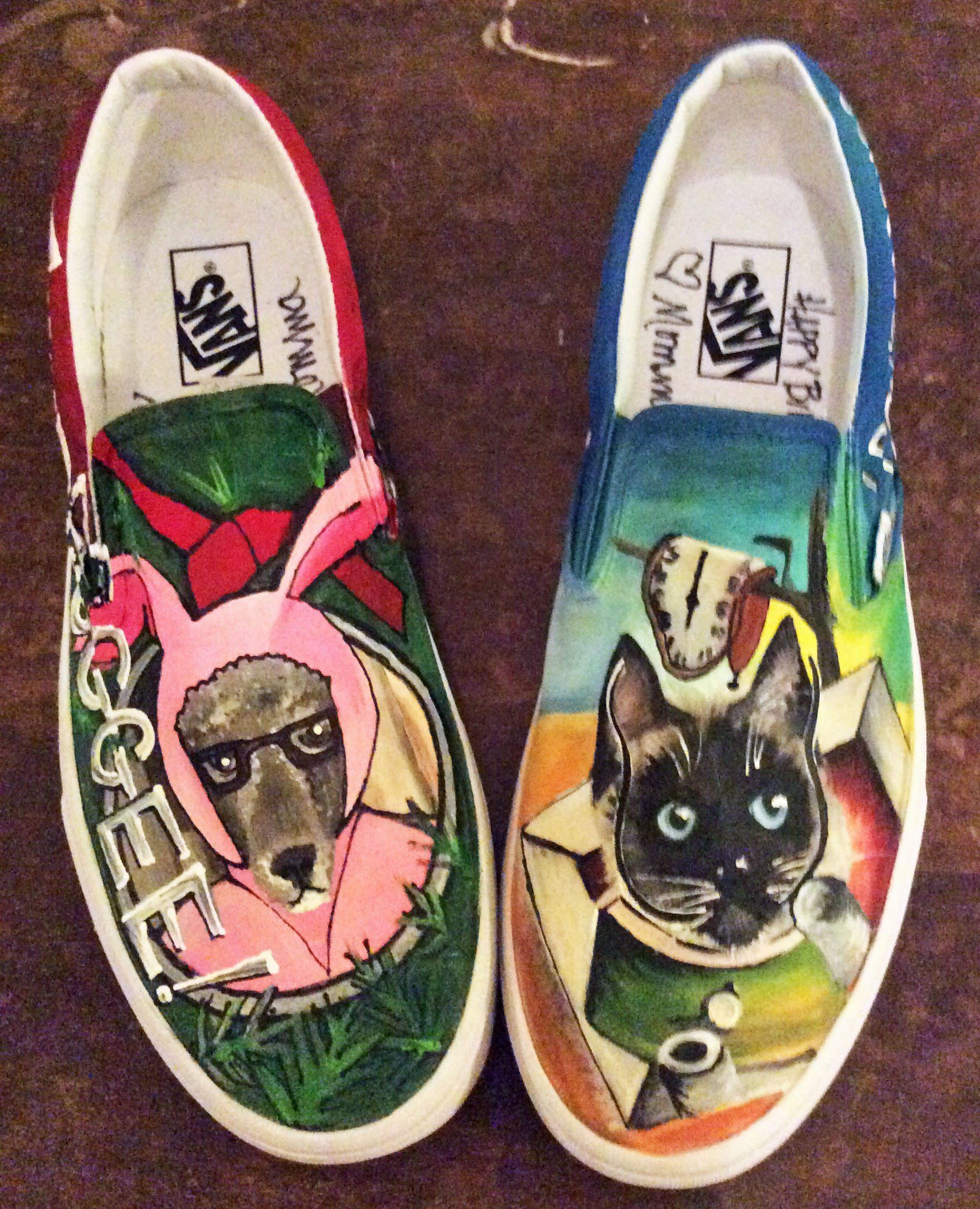 cf8c9bdc02 Vans Custom Painted Pet Portrait Slip on Shoes