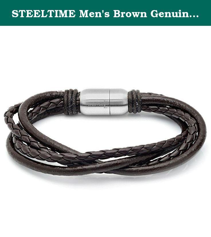 a8eae27aa168b STEELTIME Men's Brown Genuine Leather Bracelet. Men's brown genuine ...