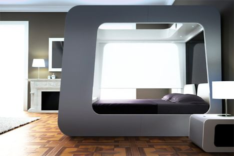 Futuristic Beds futuristic bed with built-in tv, movie screen + video games