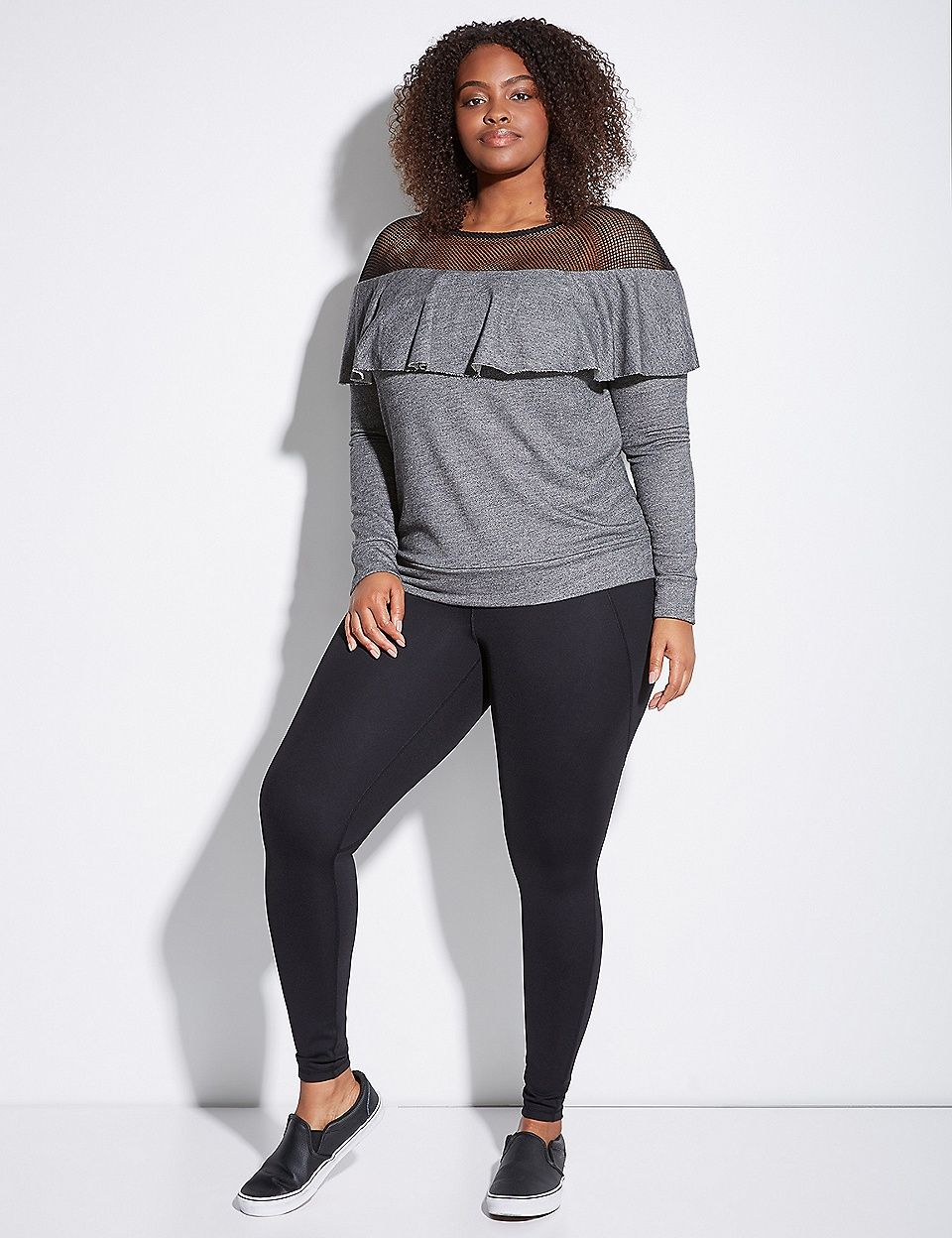 75dda186e02 Active Ruffle Sweatshirt with Mesh Yoke