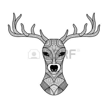 Ciervos zentangle detallada de la página para colorear, tatuaje ...