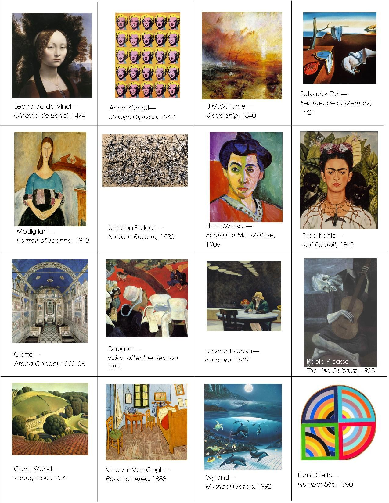 The smARTteacher Resource: Memory Game | ART EDUCATION ESSENTIALS in