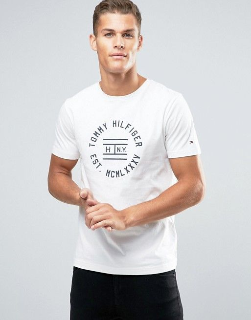 96a223ea6f Tommy Hilfiger T-Shirt With Circle Logo In White