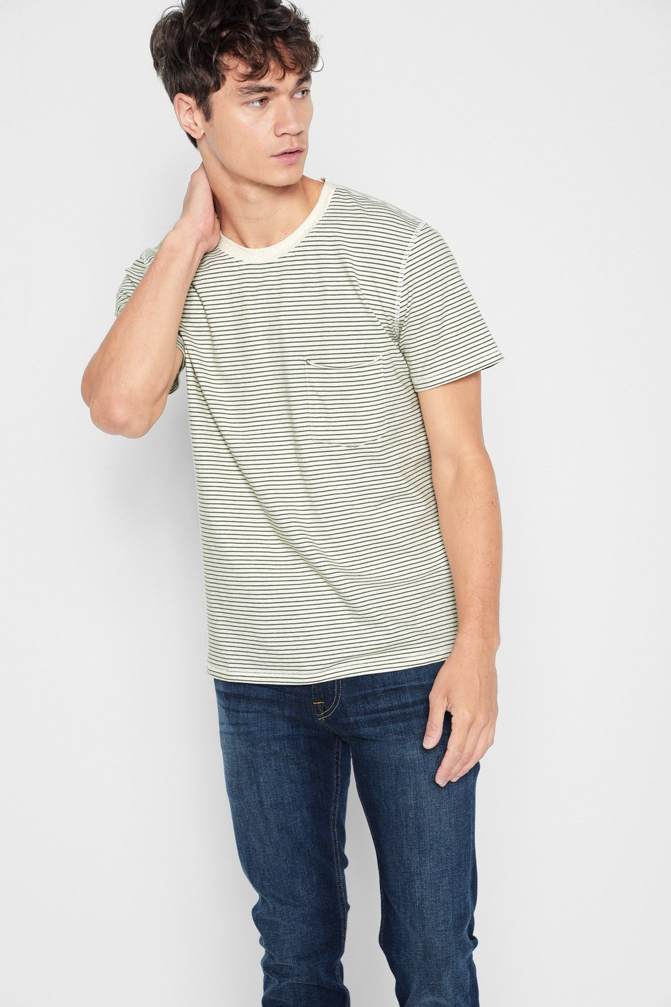 6437744c37 7 FOR ALL MANKIND Short Sleeve Striped Ringer Tee in Ecos. #7forallmankind  #cloth #