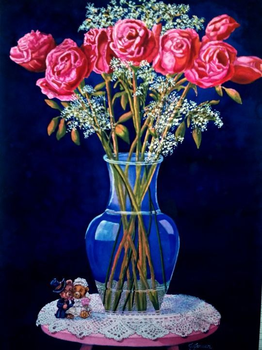 Wedding Bear Lace and Roses - Jeanette Designs - Paintings & Prints Still Life…   ArtPal thumbnail