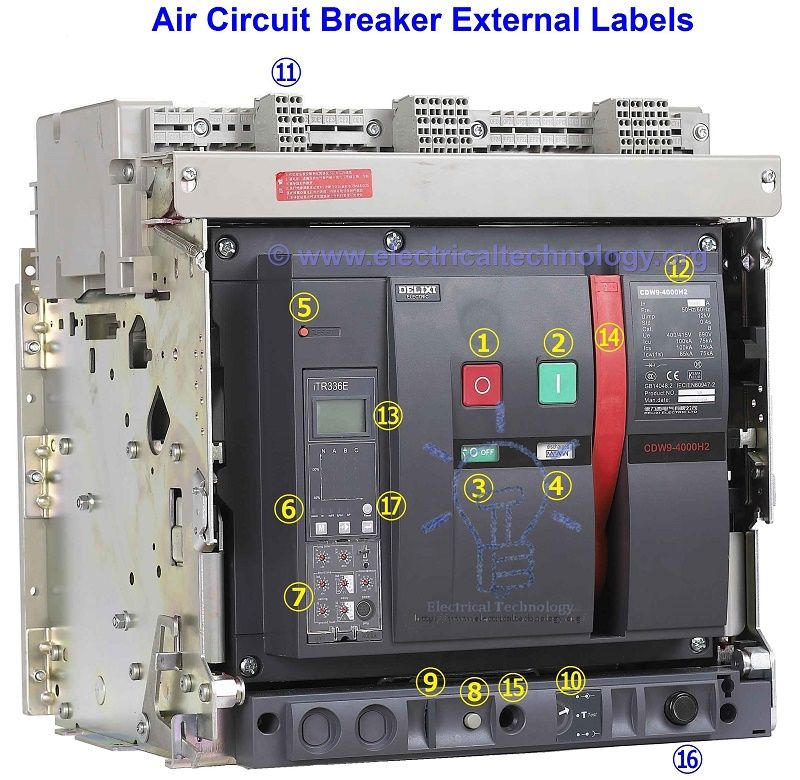 Air Circuit Breaker - Types of ACBs, Operation and Applications | Electrical  circuit diagram, Breakers, Solar panel battery Pinterest