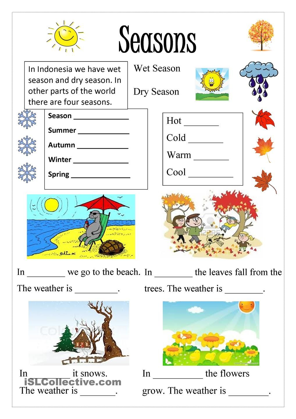 worksheet Seasons Worksheet seasons and clothes worksheet free esl printable worksheets made a asking for some simple vocabulary about giving sentence each season that they must fill in the gaps
