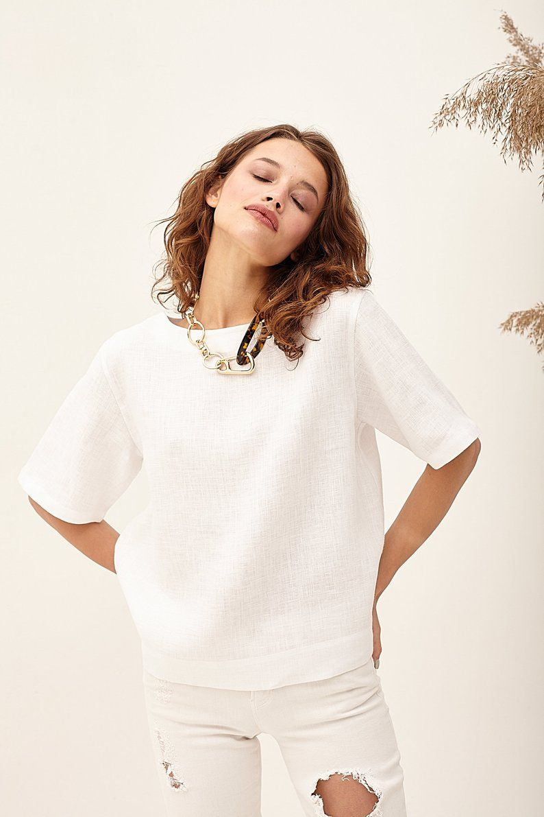 Natural Flax Top Loose Fit Top Plus Size Top Womens Linen Top White Top Womens Summer Beach Oversized Top