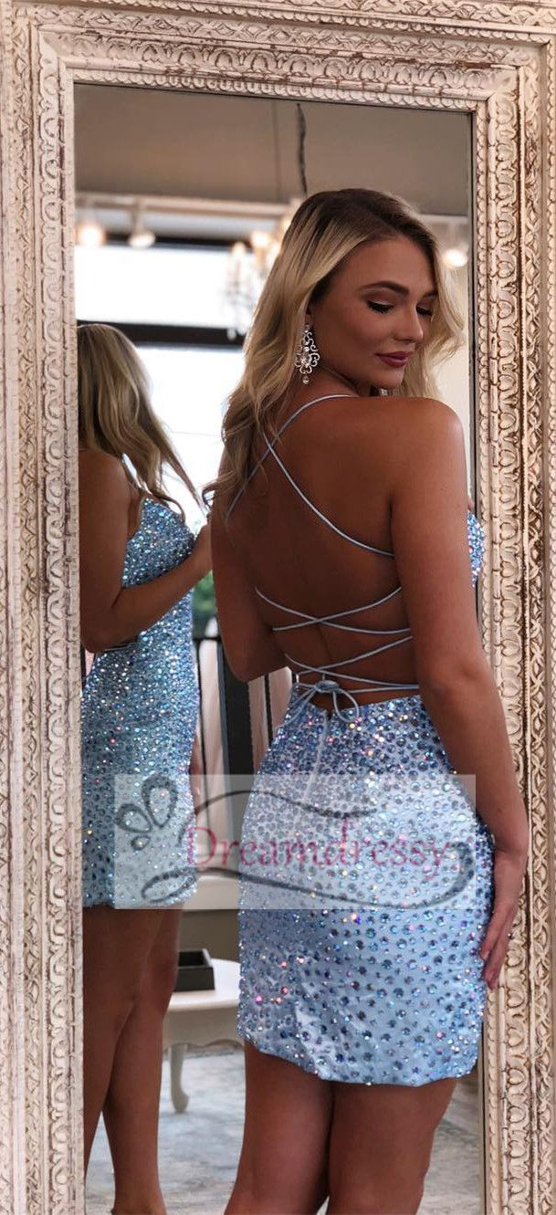 Sexy straps beaded short tight party dress formal dresses