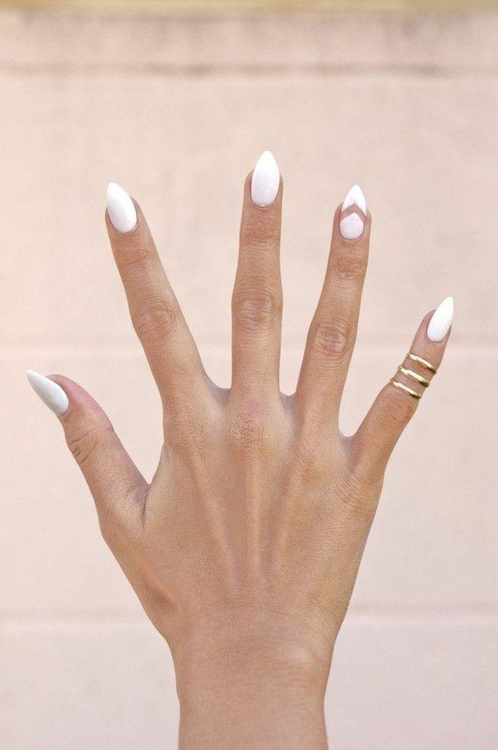 idee deco ongle, un joli modele ongle gel de couleur blanche