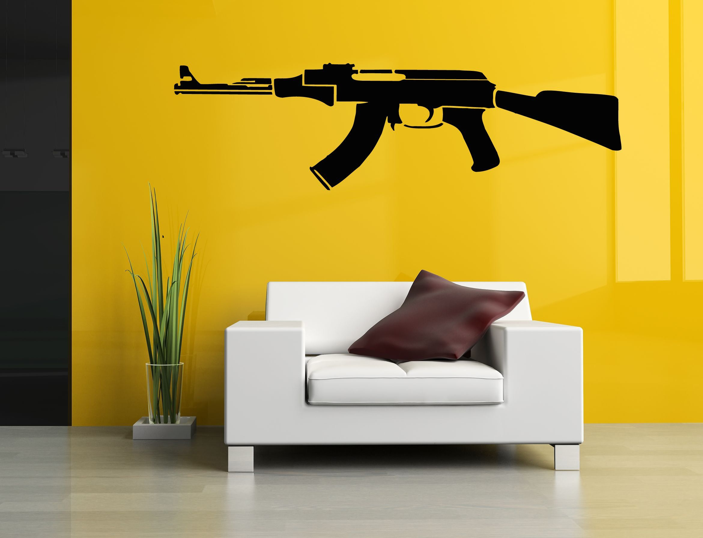 Wall Room Decor Art Vinyl Sticker Mural Decal AK-47 Machine Gun ...