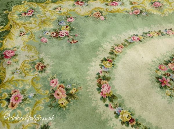 Vintage Axminster Green Wool Floral Carpet With Roses