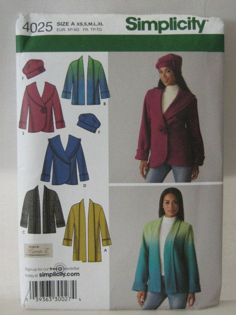 Jacket Pattern, Fleece Jacket Hat Pattern, Simplicity 4025, Shawl ...