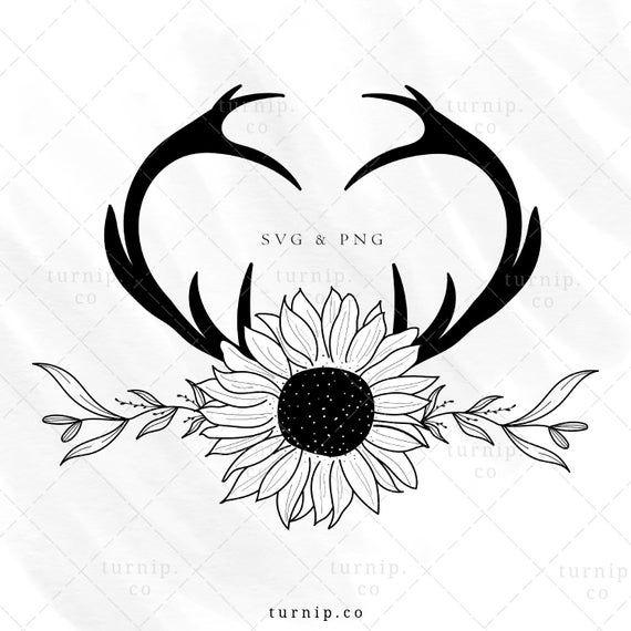Deer Antler with Sunflower SVG, Floral Wreath PNG, Boho Rustic Heart Shape Frame Clipart, Wedding Logo Instant download, Flower & Leaf Image
