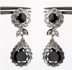 Teardrop Natural Black Diamond Earrings From India