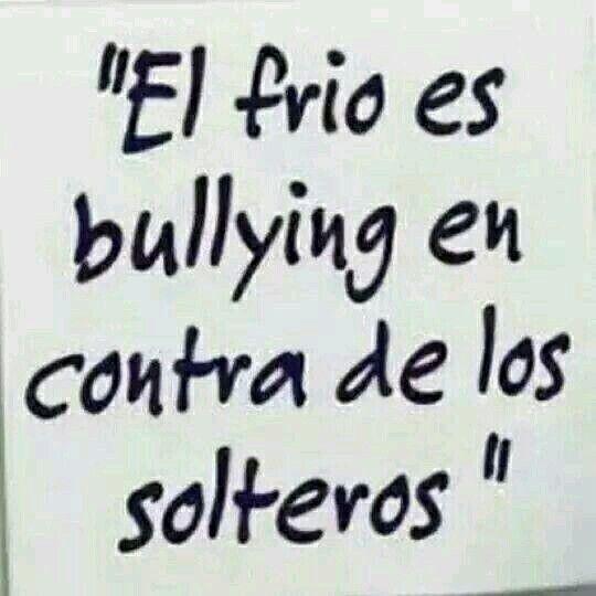 El Frio Es Bullying En Contra De Nosotros Los Solteros Frases De Soltera Frases Divertidas Frases Fuertes